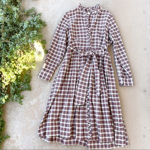 Ann Mashburn Tartan Plaid Flannel Midi Dress